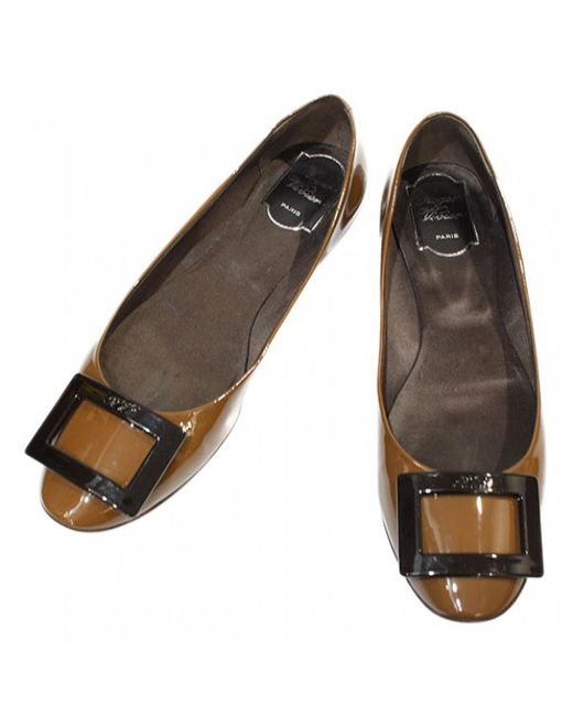 Roger Vivier | Brown Pre-owned Patent Leather Ballet Flats | Lyst