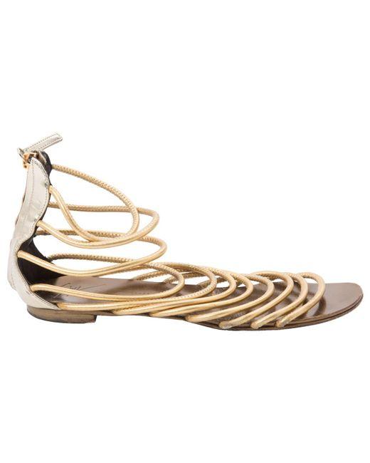 Giuseppe Zanotti - Metallic Pre-owned Leather Sandals - Lyst