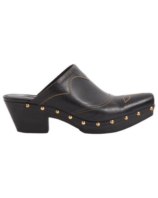 Ralph Lauren Collection - Black Pre-owned Leather Mules & Clogs - Lyst