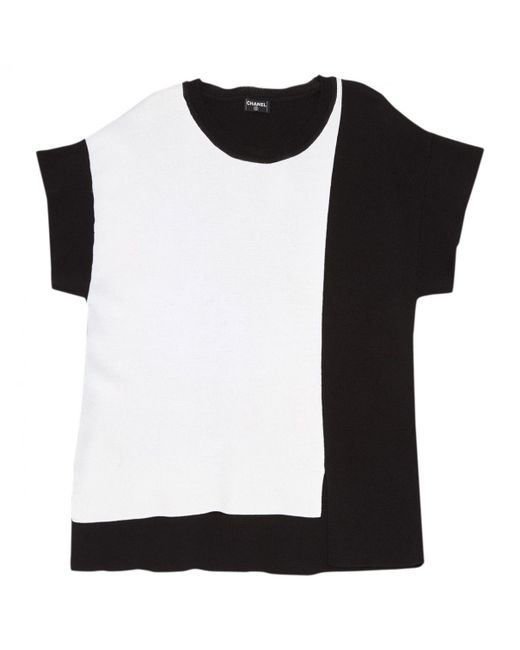 Chanel - Pre-owned White / Black Silk Top - Lyst