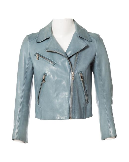 29d023c7500d Lyst - Miu Miu Pre-owned Blue Leather Jackets in Blue