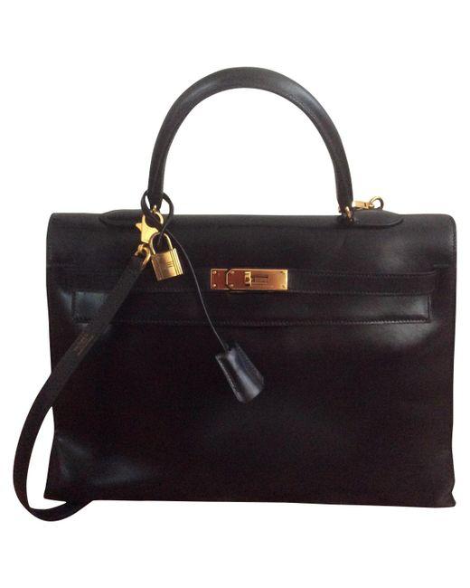 Hermès - Vintage Kelly 35 Black Leather Handbag - Lyst