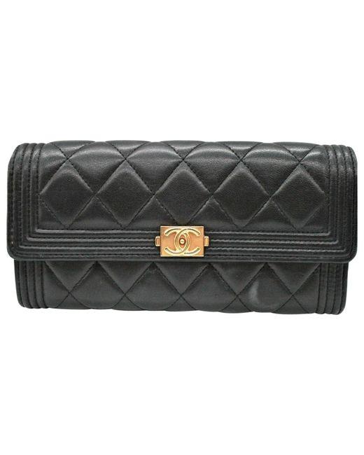 ed7cb6b0ea63 Chanel Boy Black Leather Clutch Bag in Black - Lyst