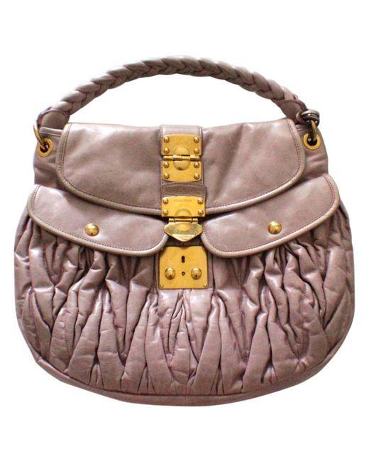 Miu Miu | Pink Matelassé Leather Handbag | Lyst
