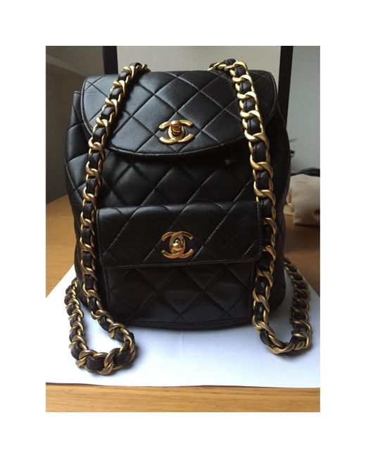 ... Chanel - Pre-owned Vintage Timeless classique Black Leather Backpacks -  Lyst ... 82cd6f435621f