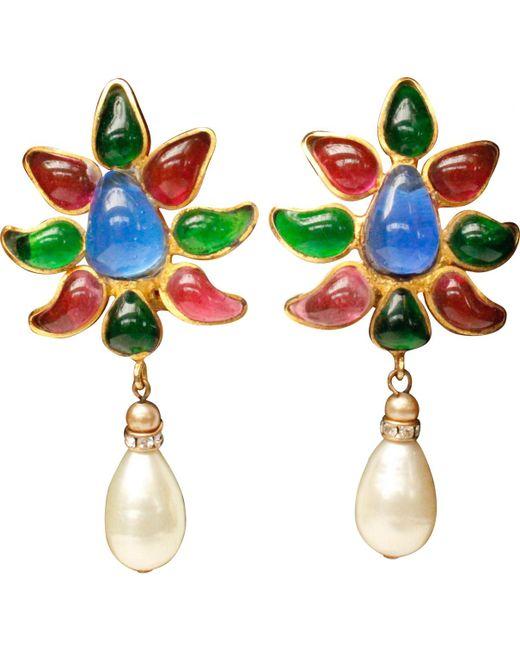 Chanel - Multicolor Pre-owned Vintage Multicolour Metal Earrings - Lyst