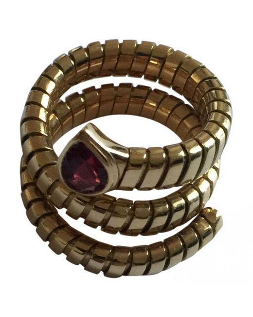 BVLGARI - Pink Serpenti Yellow Gold Ring - Lyst