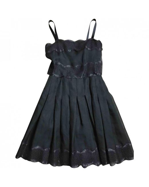 Chanel - Black Silk Mid-length Dress - Lyst