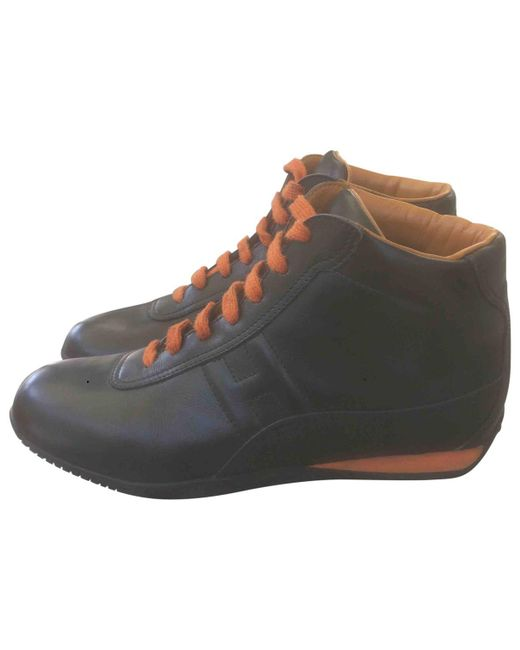 Lyst - Hermès Leather Trainers in Black 57e624000