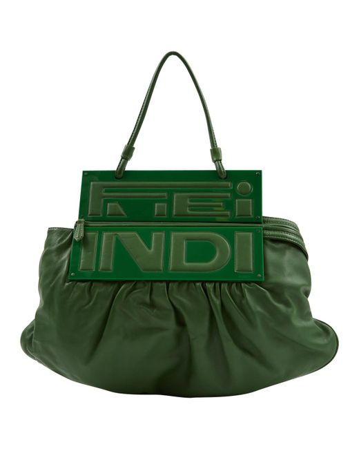 775ccd56e383 Fendi Pre-owned Green Leather Handbags in Green - Lyst