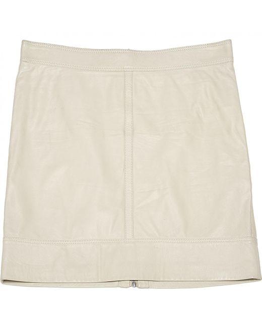 Belstaff - Natural Ecru Leather Skirt - Lyst