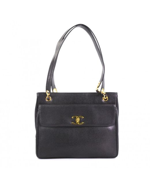 6b22049e2d8d Chanel Vintage Black Leather Handbag in Black - Lyst