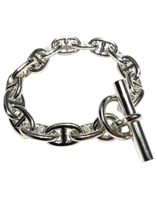 Hermès - Metallic Pre-owned Chaîne D'ancre Silver Silver Bracelets - Lyst
