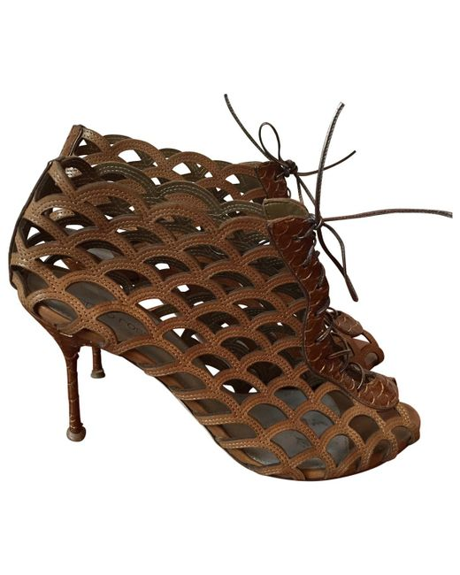 Sergio Rossi - Brown Camel Leather Sandals - Lyst