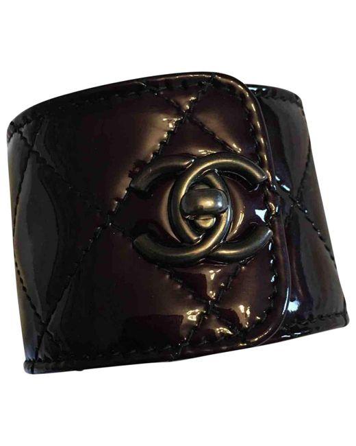Chanel - Black Burgundy Patent Leather Bracelets - Lyst