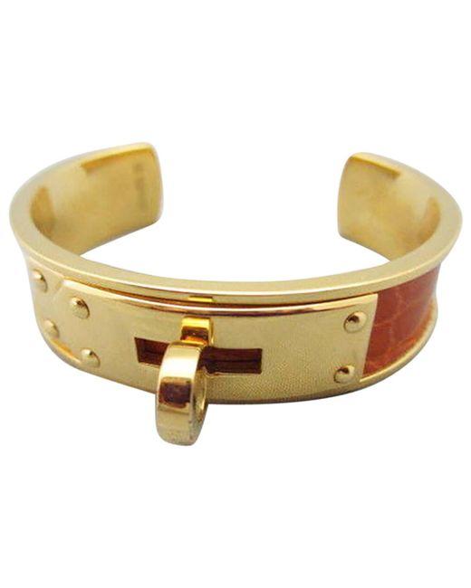Hermès - Metallic Vintage Kelly Gold Python Bracelets - Lyst