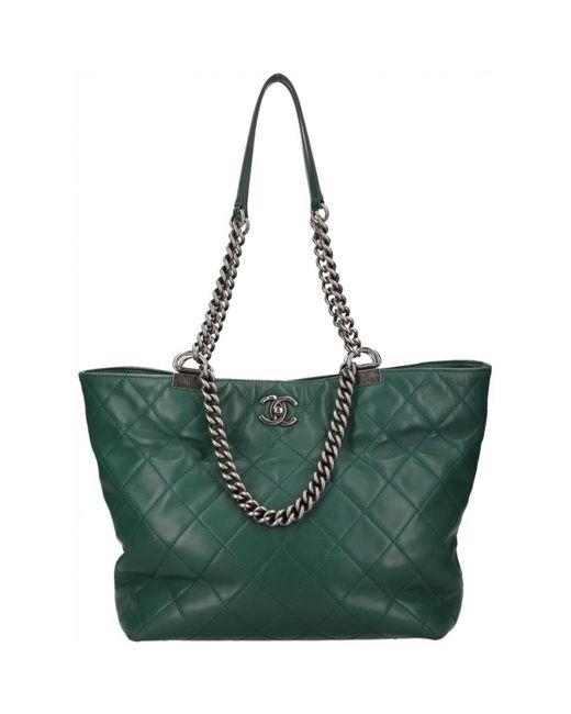 Chanel - Green Leather Handbag - Lyst