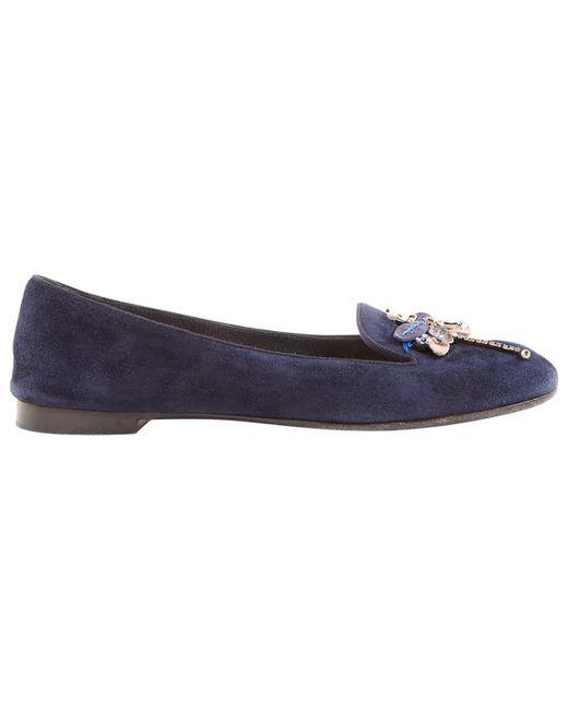 Dior - Blue Navy Suede Flats - Lyst