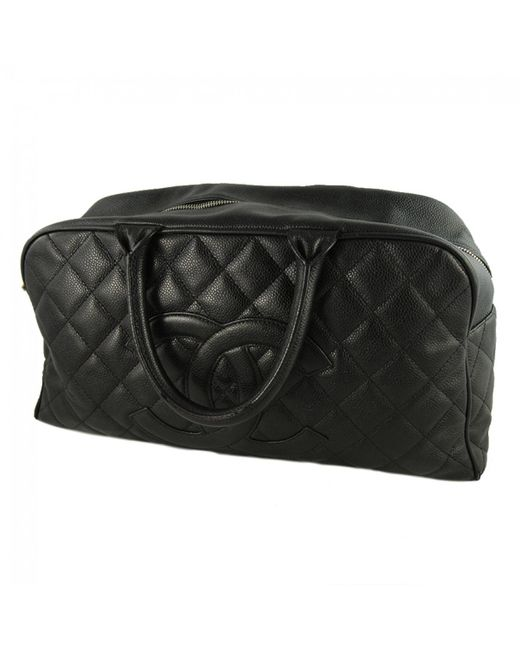Chanel - Black Leather Bowling Bag - Lyst