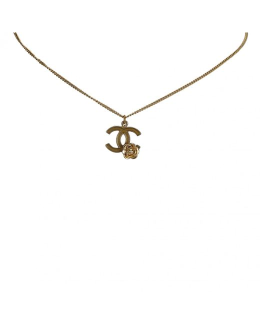 Chanel - Metallic Cc Gold Metal Necklace - Lyst