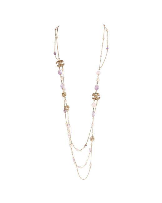 Chanel - Metallic Silver Metal Long Necklace - Lyst