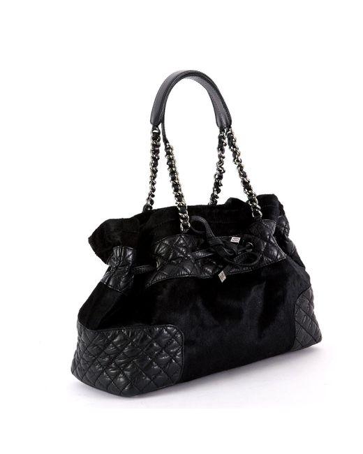 1da96da2892d ... Chanel - Black Pony-style Calfskin Handbag - Lyst ...
