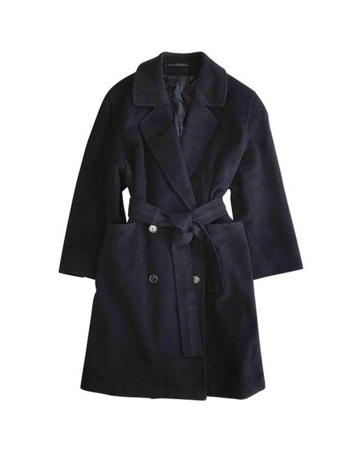Burberry - Blue Pre-owned Vintage Navy Wool Coat - Lyst