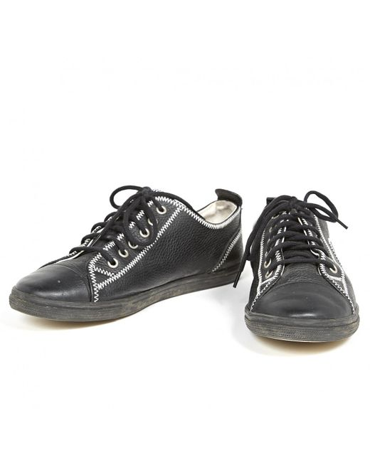0857f3dd2 ... Chanel - Black Leather Trainers for Men - Lyst ...