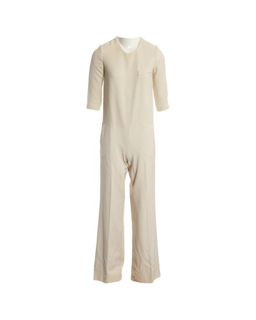 Stella McCartney - Natural Ecru Wool Jumpsuits - Lyst