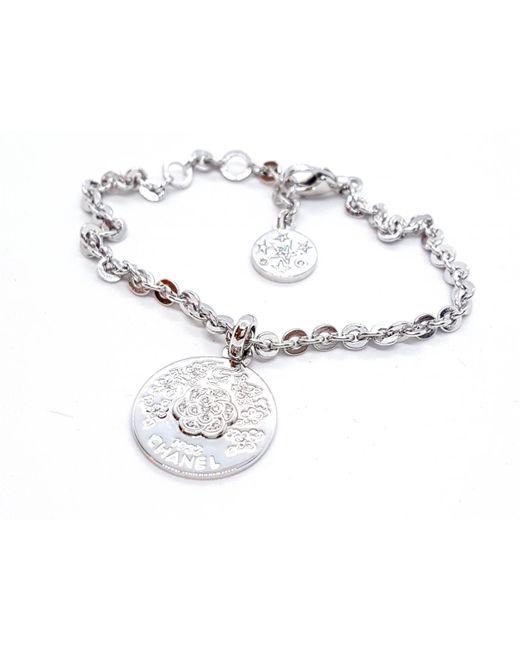 Chanel - Metallic Silver White Gold Bracelets - Lyst