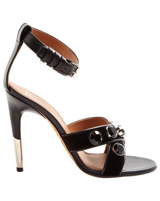 806ad8d05d13 Lyst - Givenchy Black Velvet Sandals in Black