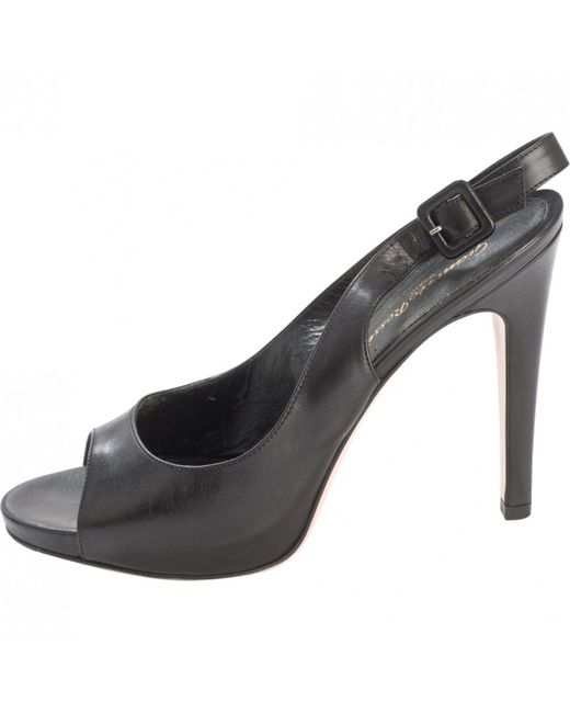 Gianvito Rossi - Black Leather Sandals - Lyst