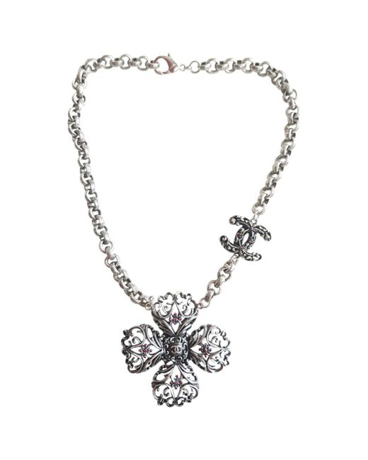 Chanel - Metallic Anthracite Steel Necklace - Lyst