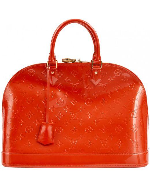 Louis Vuitton Pre Owned Alma Orange Patent Leather Handbag Lyst