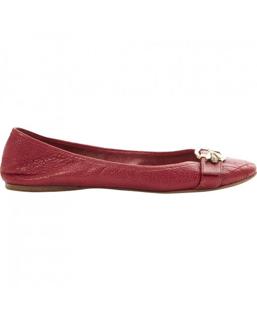Dior   Red Pre-owned Leather Ballet Flats   Lyst