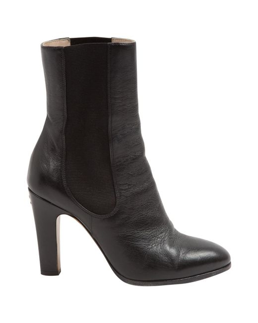 Chanel | Black Leather Ankle Boots | Lyst