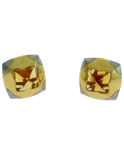BVLGARI - Metallic Pyramide Multicolour Yellow Gold Earrings - Lyst