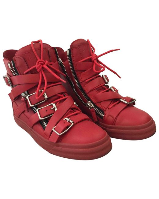 Giuseppe Zanotti - Pre-owned Red Leather Trainers for Men - Lyst