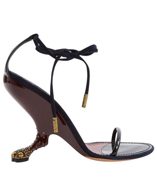 69cb261f5793 Louis Vuitton - Black Patent Leather Sandals - Lyst ...