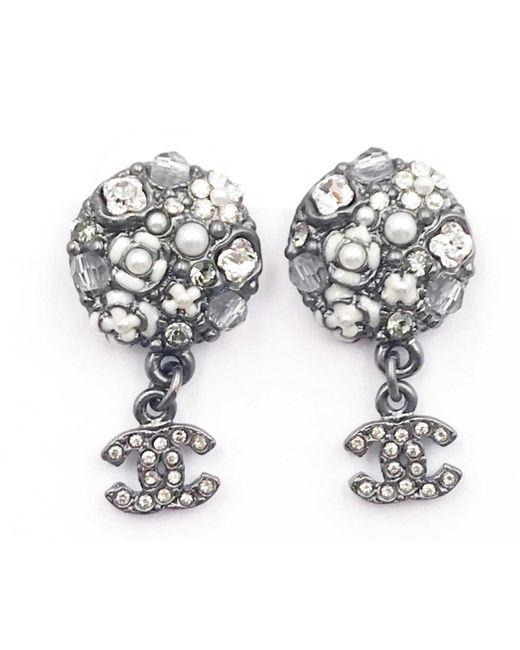 Chanel - Gray Grey Metal Earrings - Lyst