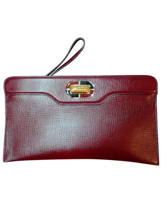 BVLGARI - Purple Pre-owned Leather Clutch Bag - Lyst