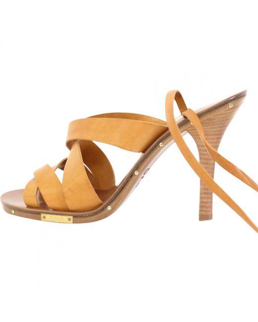 Chloé - Multicolor Camel Leather Sandals - Lyst