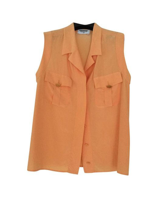Chanel - Vintage Orange Silk Top - Lyst