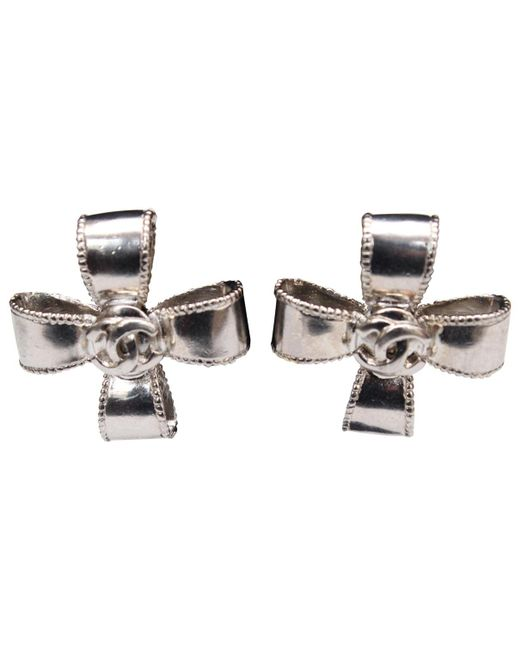 Chanel - Metallic Pre-owned Vintage Silver Metal Earrings - Lyst