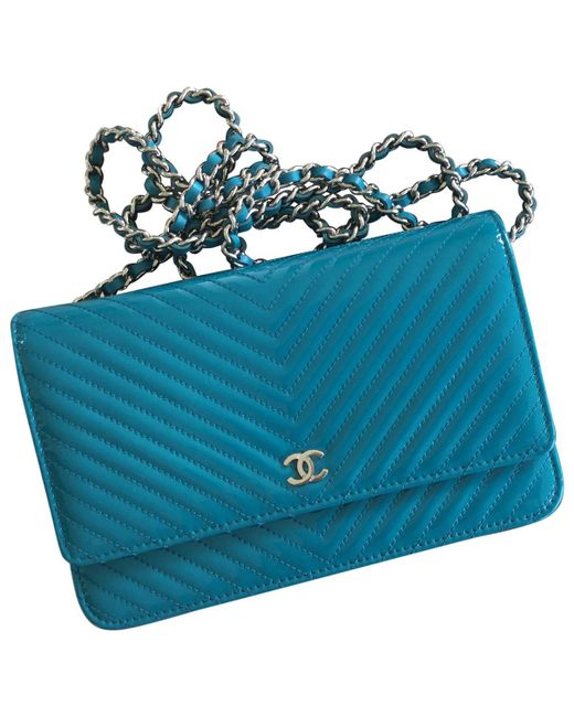 Chanel - Blue Pre-owned Wallet On Chain Patent Leather Crossbody Bag - Lyst