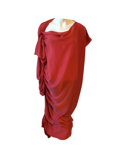 Lanvin - Red Pre-owned Mid-length Dress - Lyst