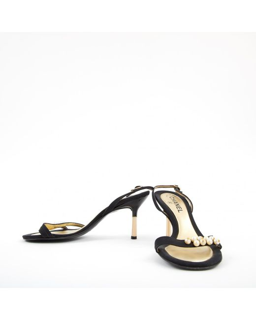 602dcd9bd ... Chanel - Pre-owned Slingback Black Cloth Heels - Lyst ...