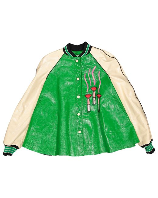 Valentino - Green Leather Jacket - Lyst