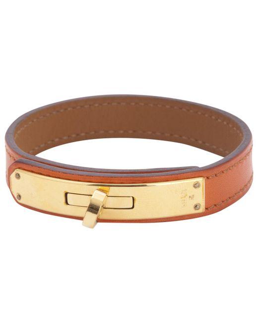 Hermès - Orange Pre-owned Kelly Double Tour Leather Bracelet - Lyst