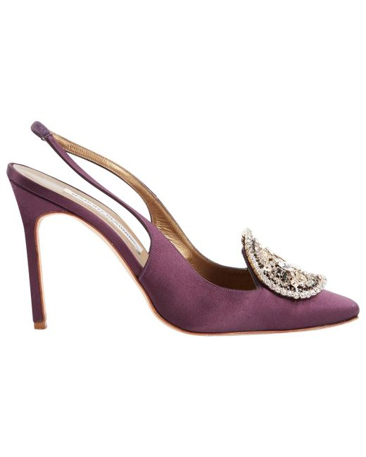 7c43dfc0c36e Manolo Blahnik - Hangisi Purple Cloth Heels - Lyst ...